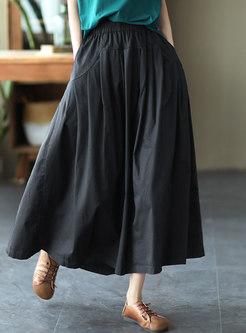Casual High Waisted A Line Maxi Skirt
