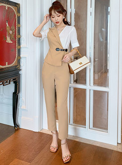 Color Blocked Cinched Waist Top Straight Pant Suits