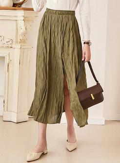 Khaki High Waisted Split Midi Skirt