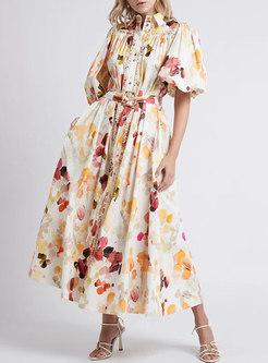 Lapel Puff Sleeve Print Big Hem Maxi Dress