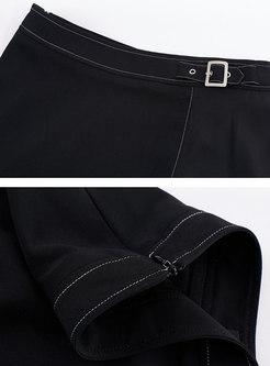 Black Belted Chiffon Midi Skirt