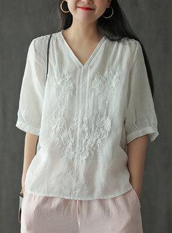 V-neck Half Sleeve Embroidered Linen Blouse