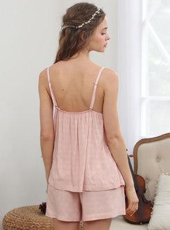 Sweet Solid Ruffle Slip Pajamas Set