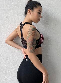 Sexy Scoop Neck Openwork Shockproof Sports Bra