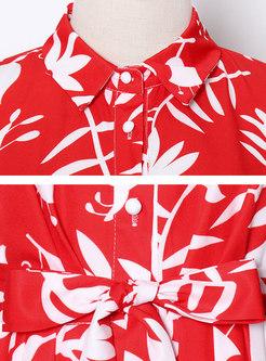 Red Print Half Sleeve Single-breasted Maxi Dress