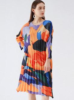 Casual Multi 3/4 Sleeve Pleated Shift Dress