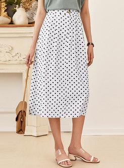 White High Waisted Polka Dot A Line Skirt
