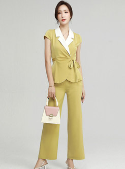 Lapel Cap Sleeve Wrap Top Wide Leg Pant Suits