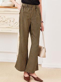 High Waisted Plaid Bell Bottom Pants