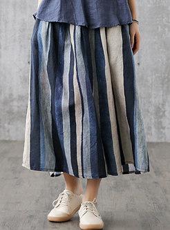 Casual Striped Elasticated Waist Linen Skirt