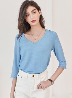 Solid V-neck Half Sleeve Pullover T-shirt