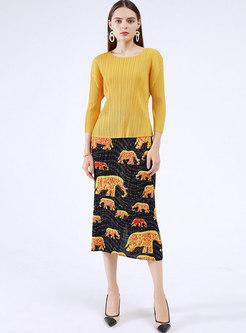 High Waisted Animal Pattern Pleated Midi Skirt