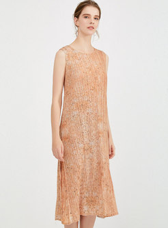 Apricot Crew Neck Sleeve Pleated Shift Dress