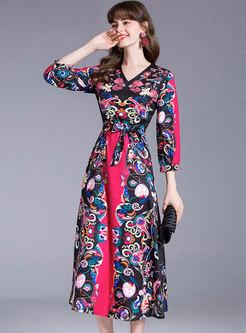 Ethnic Print 3/4 Sleeve Wrap Maxi Dress