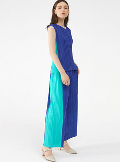 Color-blocked V-neck Sleeveless Pleated Pant Suits