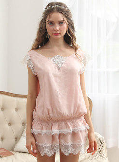 Lace Patchwork Backless Cute Pajamas Set