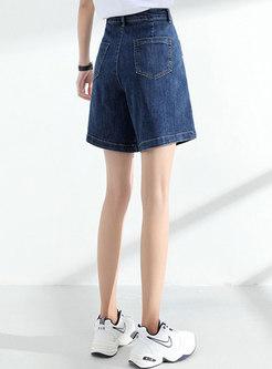 High Waisted Big Pocket A Line Denim Shorts