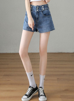 Blue Multi-breasted Denim Shorts