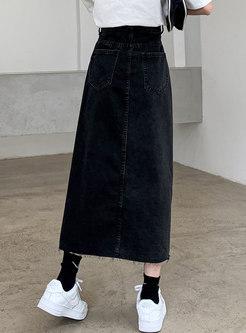 High Waisted Split Long Denim Skirt