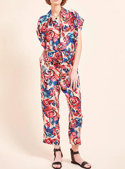 Casual Lapel Batwing Sleeve Print High Waisted Jumpsuis