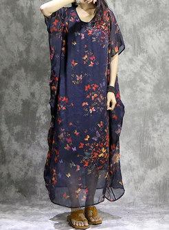 Plus Size V-neck Print Shift Maxi Dress