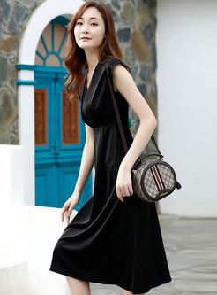 Solid Brief V-neck Cap Sleeve A Line Dress