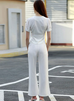 Brief Solid Lapel High Waisted Straight Pant Suits
