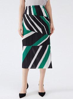 Casual Geometric Print Sheath Pleated Skirt
