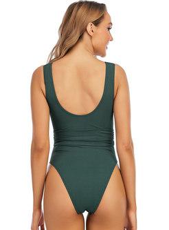 Solid V-neck Sleeveless Belted One Piece Swimwear
