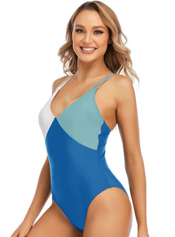 Color Blocked Cross Back Strappy One Piece Swimwear