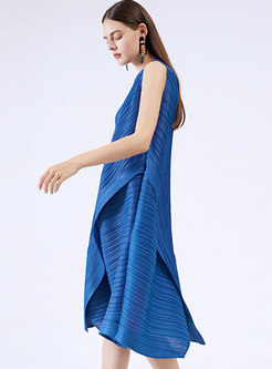 Blue Crew Neck Sleeveless Irregular Shift Dress