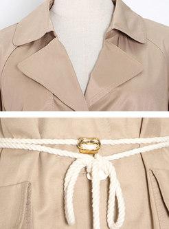 Solid Lapel Long Sleeve Big Pocket Trench Coat