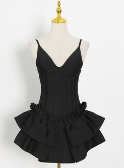 Sexy V-neck High Waisted Ruffle Skater Dress