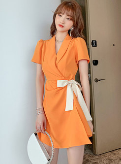 Lapel Puff Sleeve High Waisted Rompers