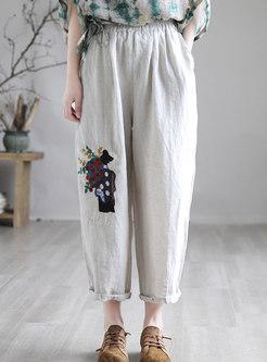 Artsy Embroidered Linen Harem Pants