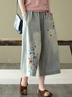 Retro Washed Denim Embroidered Wide Leg Pants