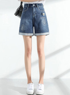 High Waisted Embroidered Curled Denim Shorts