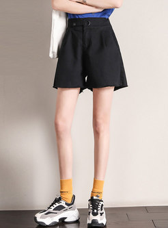 Casual Solid High Waisted Wide Leg Hot Pants