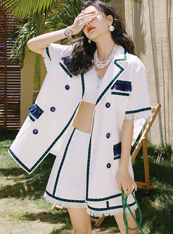 Casual Notched Collar Hot Pant Suits