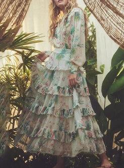 Green Print Long Sleeve Shirt & Layer Maxi Skirt
