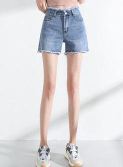 High Waist Straight Tassel Denim Shorts