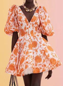 Boho V-neck Puff Sleeve Print Mini Skater Dress