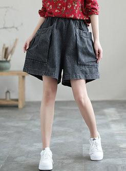 High Waisted Plus Size Wide Leg Denim Shorts