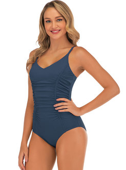 Scoop Neck Solid Ruched One Piece Swimwear