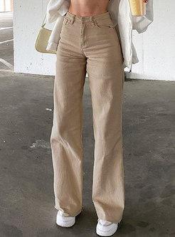 Casual High Waisted Denim Straight Pants