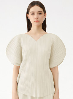 Solid Puff Sleeve V-neck Pleated T-shirt