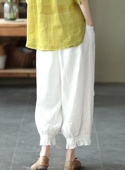 Vintage Lace Patchwork Linen Harem Pants
