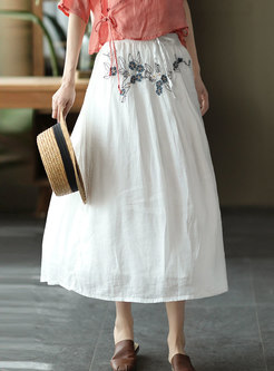 High Waisted A Line Embroidered Maxi Skirt