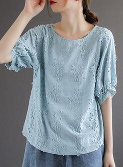 Crew Neck Half Sleeve Embroidered Retro T-shirt