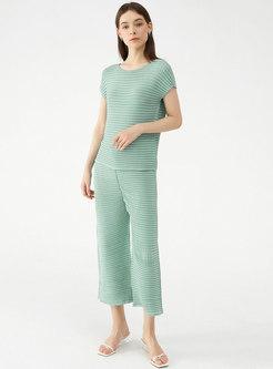 Green Plaid Smocked Top Straight Pant Suits